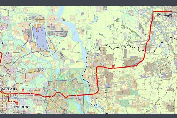 平谷线地铁线路图